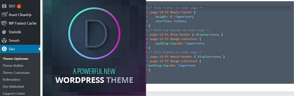 Divi Theme Eigene CSS für Menüleiste und Footer ausblenden