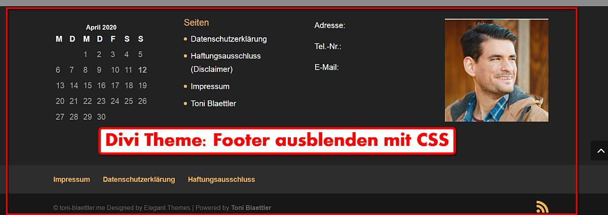 Divi Theme Footer ausblenden mit CSS-Befehl